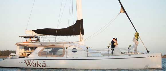 Waka Sailing Catamaran Wedding