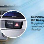 lampu peringatan pemakaian sabuk pengaman pada penumpang di depan