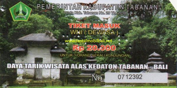 Harga Tiket Masuk Alas Kedaton Tabanan Bali