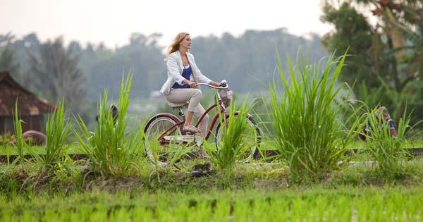 Naik Sepeda Di Tepi Sawah Ubud