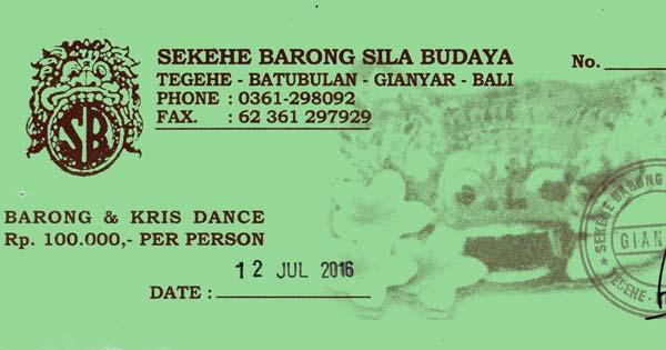 Harga Tiket Barong Dance Batubulan