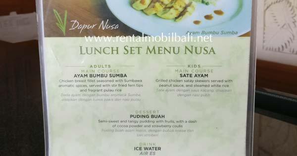 Makan Siang Set Menu Taman Nusa Gianyar