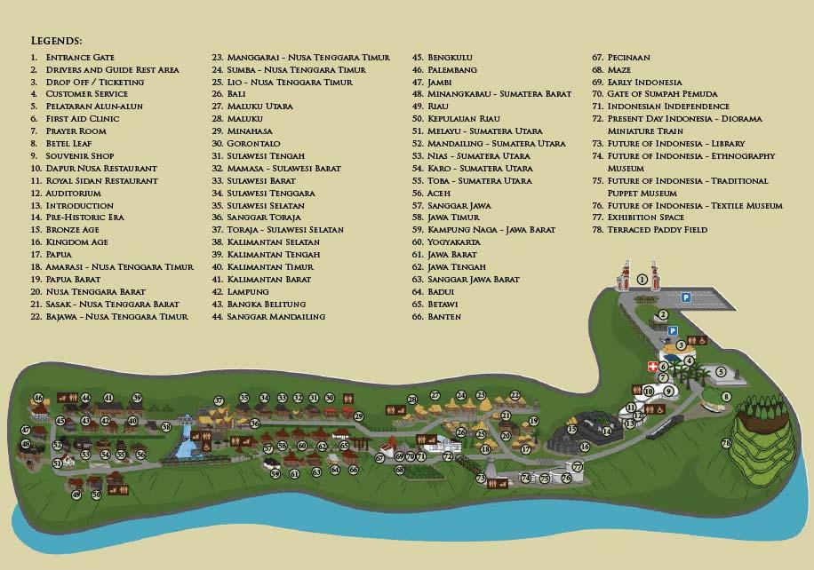peta panduan petunjuk untuk liburan di Taman Nusa Gianyar
