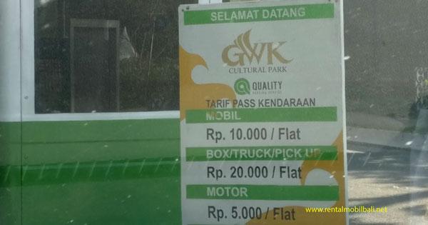 Biaya Parkir Kendaraan Di GWK Ungasan Bali